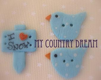 Tilda's Snow bird buttons handmade polymer clay