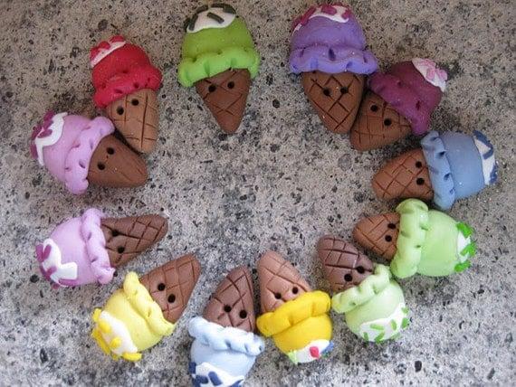 Icecream buttons handmade polymer clay 4 pz.