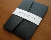 Black and White Wedding Invitation Set Sample - Silver and Black Pocket Invitation - Classic Wedding Invitation with Stripes
