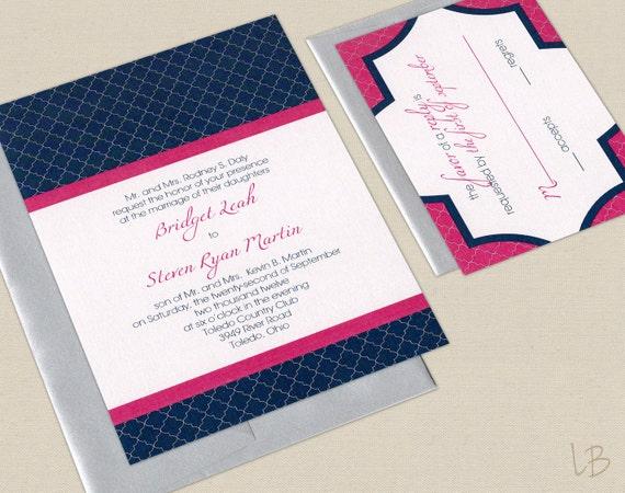 Navy Wedding Invitations: Items Similar To Pink And Navy Wedding Invitation Sample