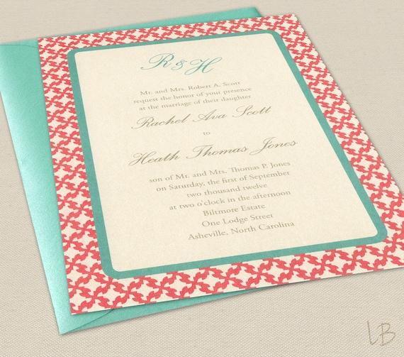 Coral Colored Wedding Invitations