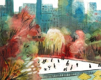 Wollman Rink, Central Park, New York City, art print