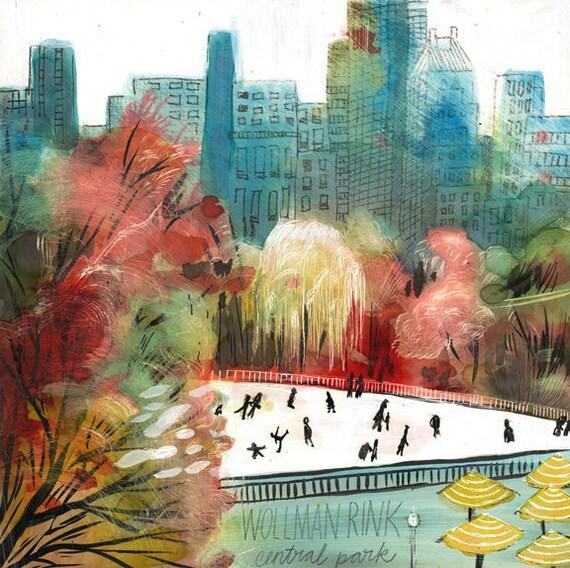 Wollman Rink, Central Park, New York City, art print