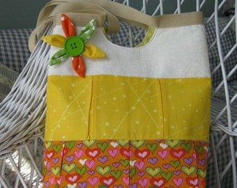 Hearts and Flowers Orange Yellow Tote Bag diaper beach summer fun carryall
