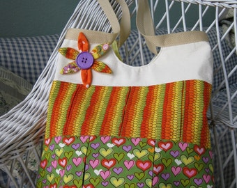 Hearts and Flowers Tote Bag beach summer diaper carryall fun orange green yellow