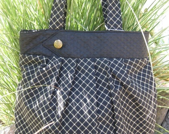 Shoulder tote bag, black, charcoal, gold button, diamond pattern, pleated, carryall, womens