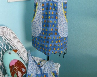 Mommy and Me Apron Set, light blue, birds, pockets, full coverage, women, girls,