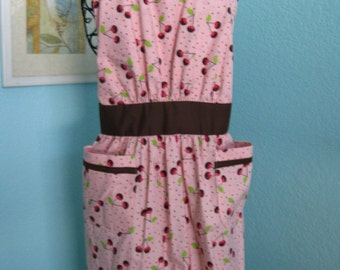 Chocolate Covered Cherry Apron, women, teens, pink and brown, pockets, full coverage