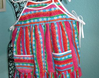 Girl's apron/coverup, toddler, hot pink, aqua,