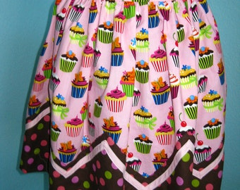 Vintage Style Cupcake Apron, pink and brown, zigzag,polka dots, women, teens