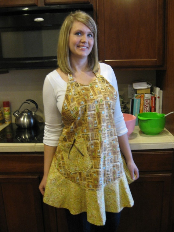 Coffee Lovers Apron, women, teens, full coverage, browns, reversible,pockets
