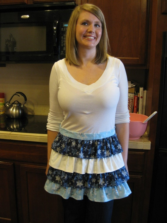 Ruffled Winter Apron, Christmas, blue and white, snowflakes, women, teens,layers, half apron