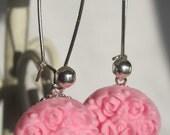 Detailed Rose Earrings-Baby Pink