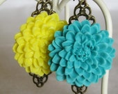 Large Chrissy Earrings-Turquoise (on silver-not antiqued copper)