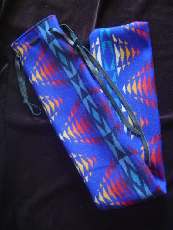 PENDLETON Native Flute Whistle Shakuhachi Drumstick Bag Pennywhistle Case - Peco's Pattern - Blue