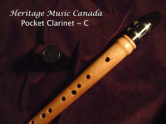 Heritage Music Cherry Pocket Clarinet, Mini Sax, Keyless Renaissance Chalumeau