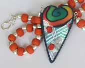 Rainbow heart pendant necklace, polymer clay millefiori