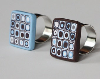 SALE - PRICE REDUCED - Retro square adjustable ring in brown, white and light blue