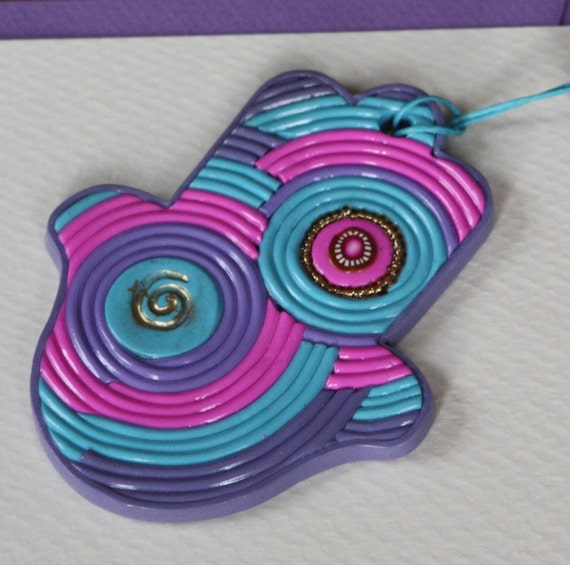 Colorful Hamsa wall hanging, polymer clay, yarn like, purple turquoise fuchsia
