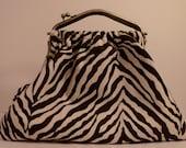 SALE Chocolate Brown and Ivory Zebra Carpet Bag Purse Handbag