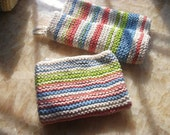 Textured Knitted Striped Dish Towels Set