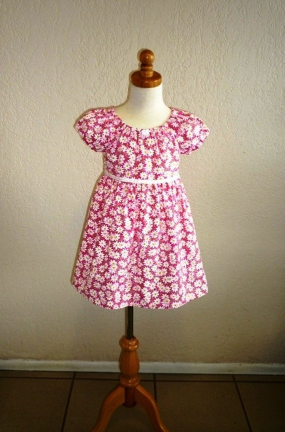 Girls Pink Summer Dress with Polka Dots and White Daisies - Size 4T- Free Favor Bag Included