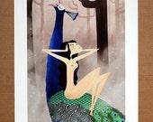Feather Girl 1 - Digital Illustration Print by EMMANUELLE WALKER