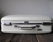 Vintage White American Tourister Tiara Suitcase with Keys