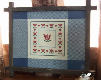 Vintage Cross Stitch Tulips in  Rustic Frame / Vintage Cross Stitch Americana Tulips