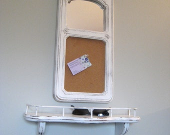 Mirrored Cork Board w/ Shelf / Upcycled Cottage Chic Entry Shelf & Message Board