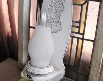Shabby White Candle Sconce with Glass Chimney / Upcycled Carved Wood Wall Sconce / Cottage Chic Night Light / Candle Holder