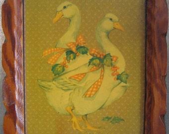 Vintage Handmade Frame with Ducks Print / Crafty Kitsch / Vintage Kitschy Ducks