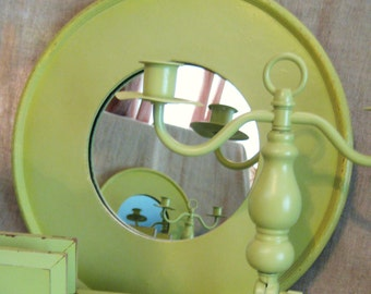 Vintage Round Mirror in New Avocado