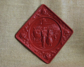 Embossed Metal Wall Plaque / Vintage Repousse Painted Wall Decor