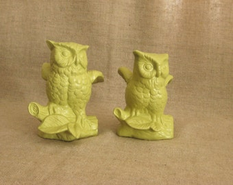 Upcycled Ceramic Owl Figurines in New Avocado