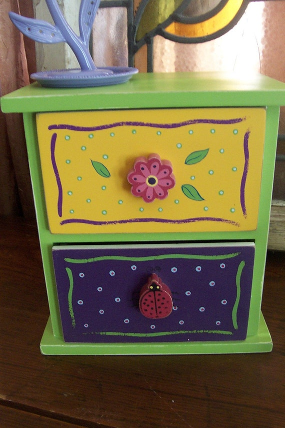 Funky Girl Fun Trinket Box / Two-Drawer Chest