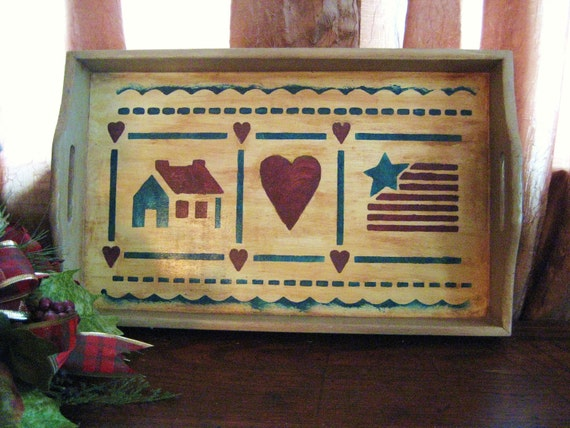 Primitive Americana Wood Tray / Vinage Stenciled Tray