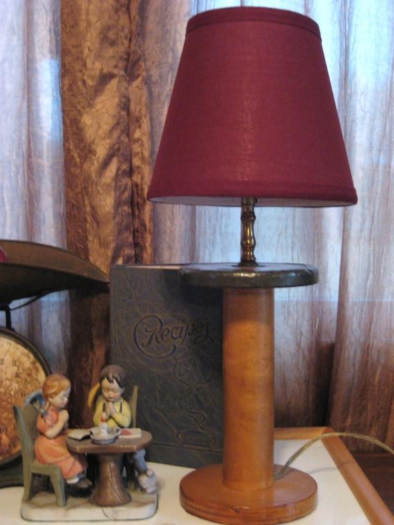 Vintage Wooden Spool Lamp