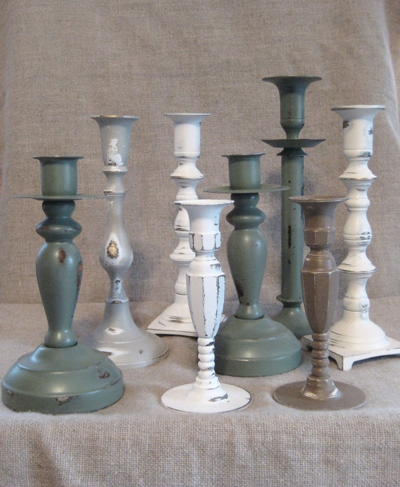 Shabby Chic Woodland / Cottage Candlestick Collection