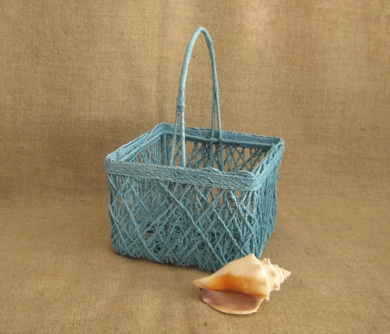 Pretty Petite Flower Girl Basket in Aqua