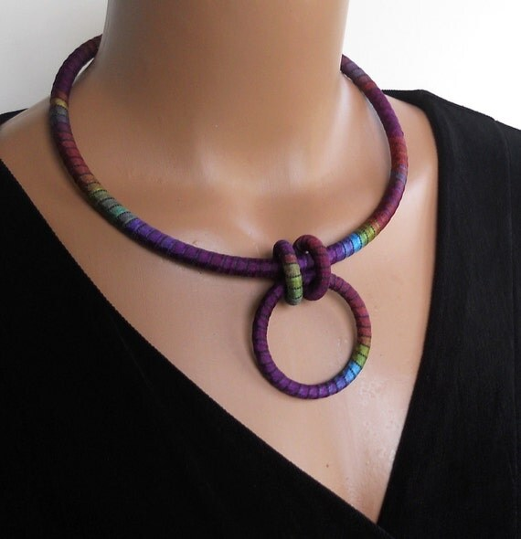 Eyeglass Holder  Fiber Art Necklace