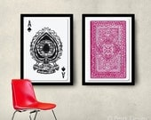 Set of 2 Big Posters, Playing Cards Posters, 20x30 50x70cm Home decor wall art prints Unisex gift, Fit into IKEA frames
