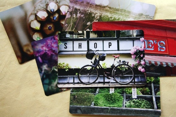 SET of 6 Travel Postcards, 4x6 - You Choose, colorful, bike print, greeting gift card, photography