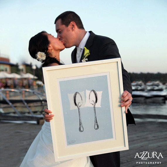 CLEARANCE Sale 60% Off Unique Wedding Present, Spooning Poster Bedroom Light Blue / Fits into IKEA frames Original Concept