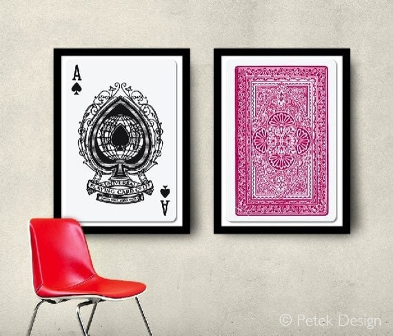 Https Www Etsy Com Listing 55760057 Set Of 2 Big Posters Playing Cards 20x30