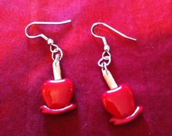 Fun Earrings CANDY APPLES on hooks