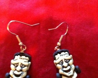 Fun Earrings FRANKENSTEIN on hooks