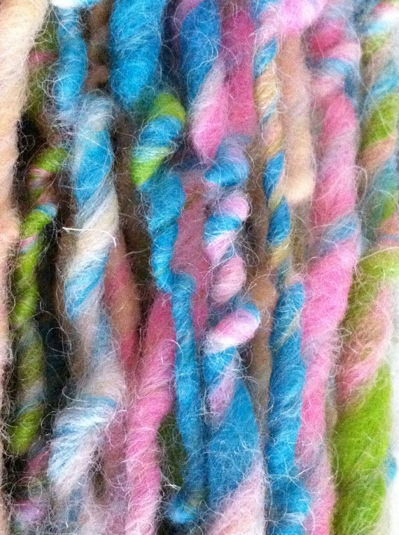 ON SALE Felted Party MInts Handspun Yarn