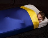 READY TO SHIP Queen Size Lycra Sheet -  Royal Blue Base with White Band