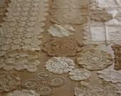 Lot of 21 Shabby Chic Antique Vintage Doilies Linens